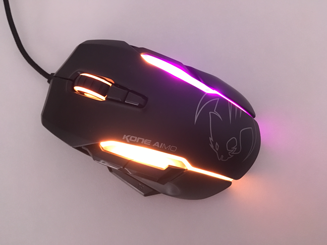The ROCCAT Kone AIMO seen from above