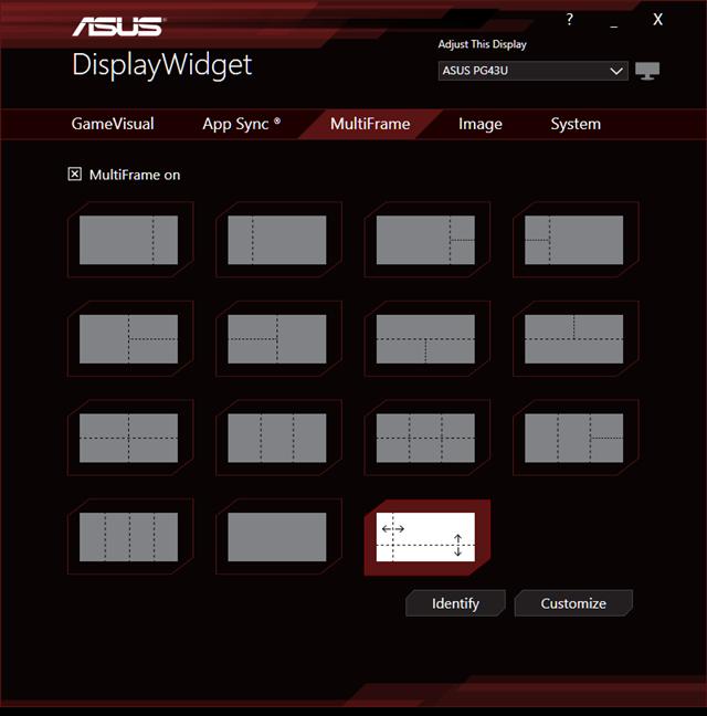 Using MultiFrame on the ASUS ROG Swift PG43U