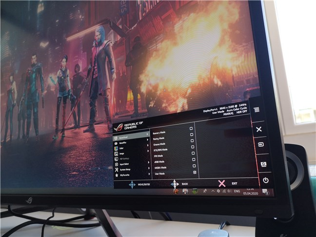 The OSD on the ASUS ROG Swift PG43U gaming monitor
