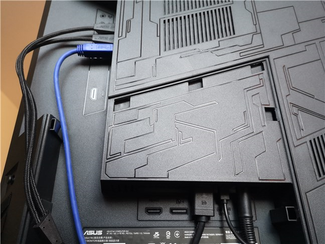 The ports available on the back of the ASUS ROG Swift PG43U