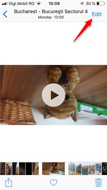 Tap Edit in the Photos app