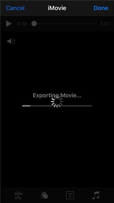 iMovie saves the new video