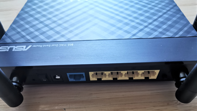 The ports on the back of the ASUS RT-AC1200 V2