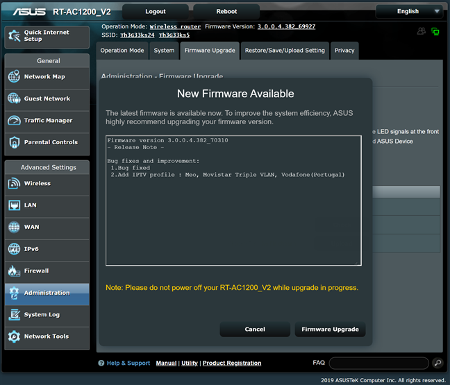 Firmware update available for ASUS RT-AC1200 V2