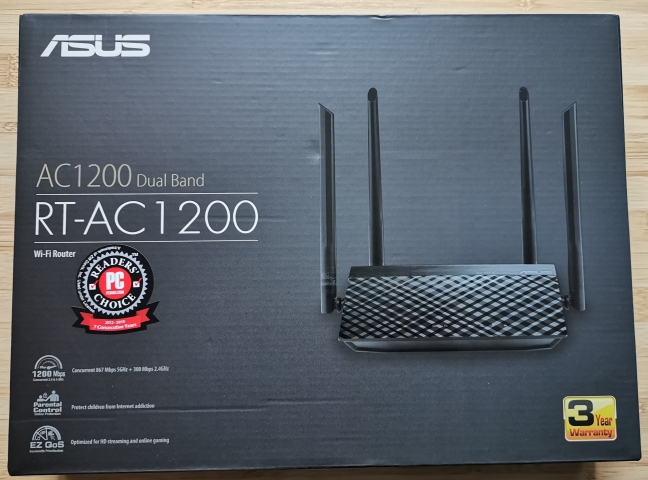 The packaging used for ASUS RT-AC1200 V2
