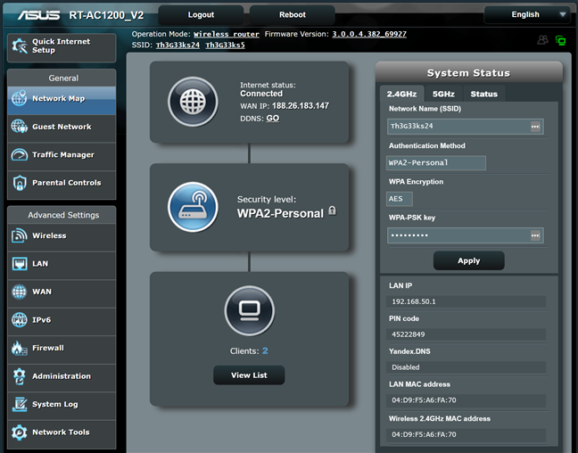 The firmware on the ASUS RT-AC1200 V2