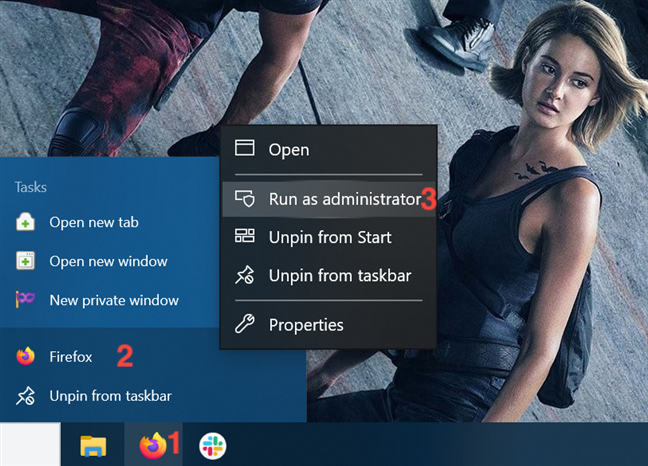 Use the taskbar shortcut to run a program as administrator
