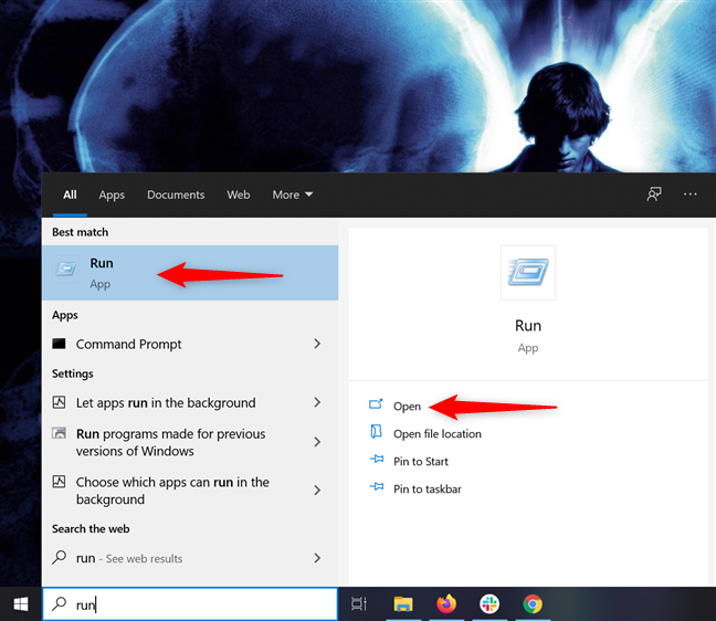 Access the Run window from the Search bar in Windows 10