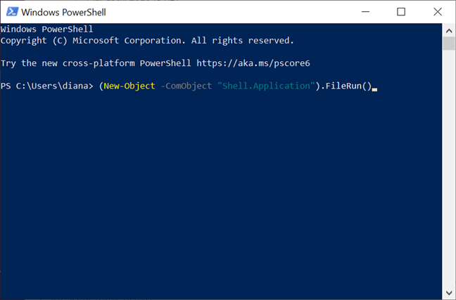 Enter the command in PowerShell