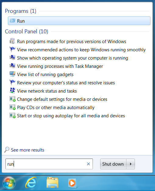 Access the Run window from the Start Menu's Search box in Windows 7