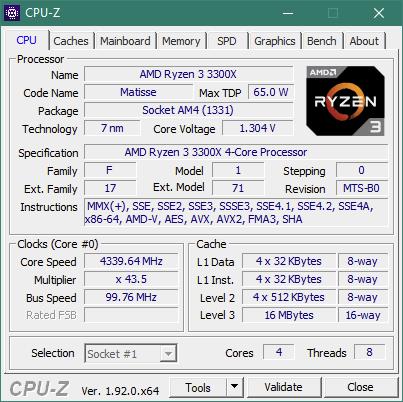 CPU-Z details about the AMD Ryzen 3 3300X
