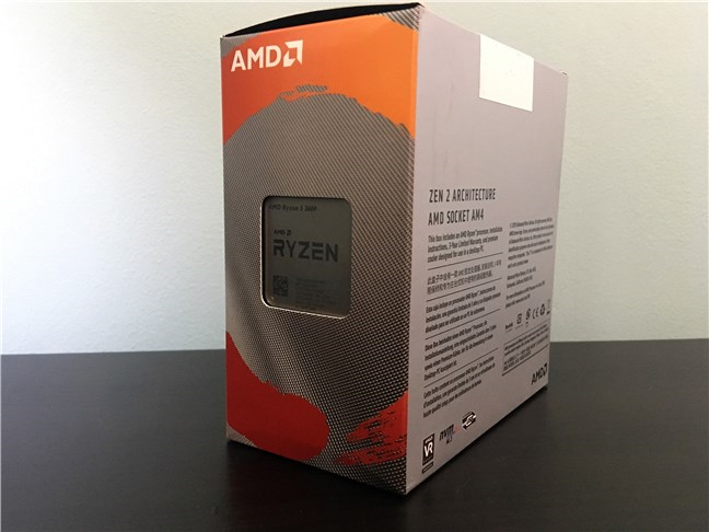You can see the AMD Ryzen 5 3600 through a cutout in its box