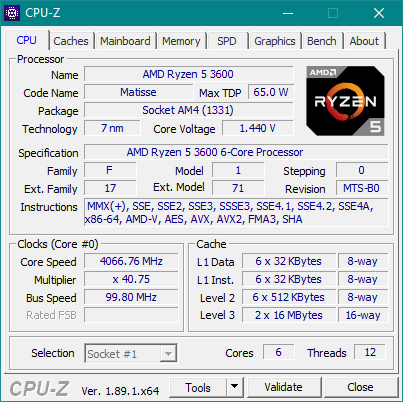 CPU-Z details about the AMD Ryzen 5 3600