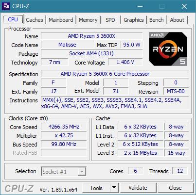 CPU-Z details about the AMD Ryzen 5 3600X