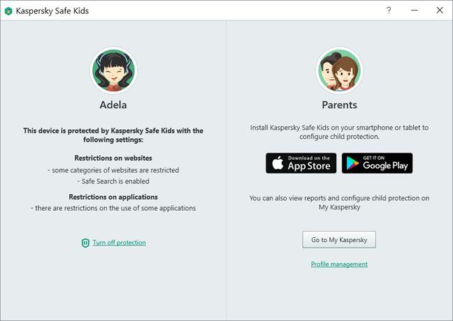 Kaspersky Safe Kids, Windows, parental controls