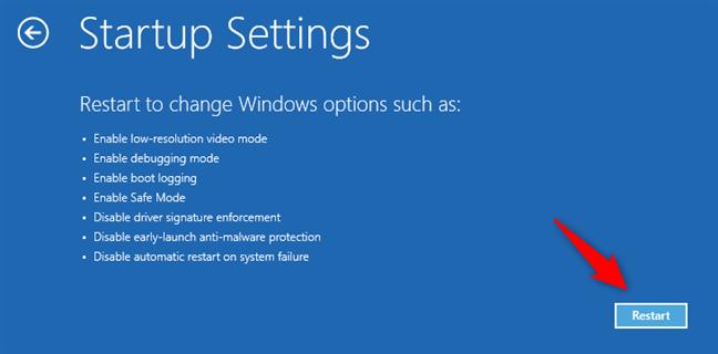 The Windows 8.1 Startup Settings