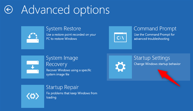 Opening the Windows 8 or 8.1 Startup Settings