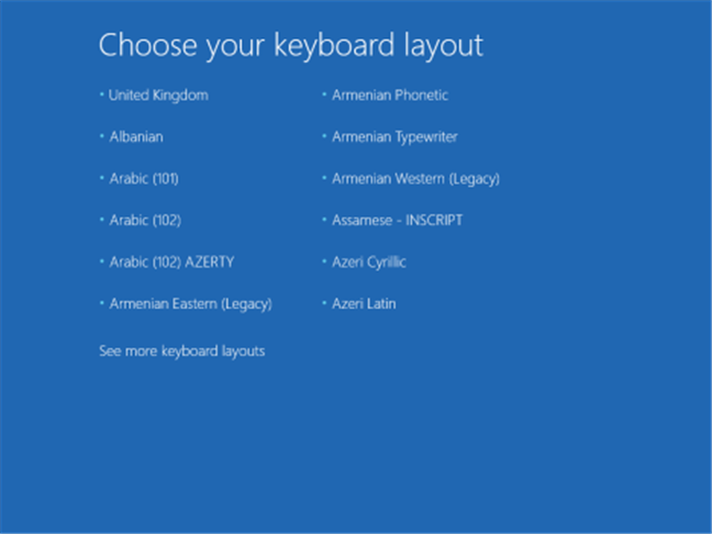 Choosing the keyboard layout for the recovery CD/DVD