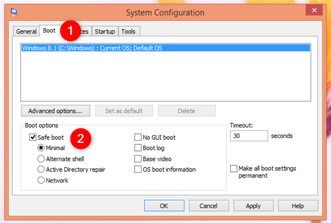 The System Configuration app in Windows 8