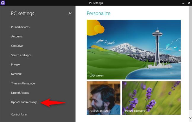 The PC Settings screen in Windows 8