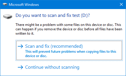 Scan and fix to prevent disk problems