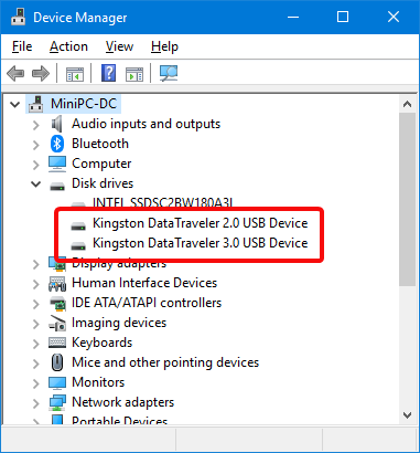 Find the USB disk drives in Windows