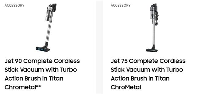 Samsung JET cordless stick vacuum cleaners