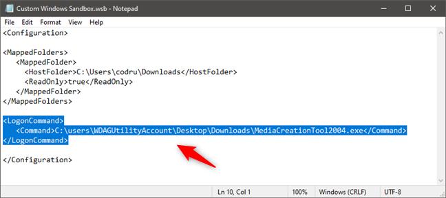 Ejecutar un archivo ejecutable en Windows Sandbox al inicio