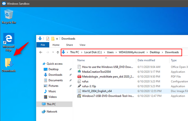 What a shared folder looks like in Windows Sandbox