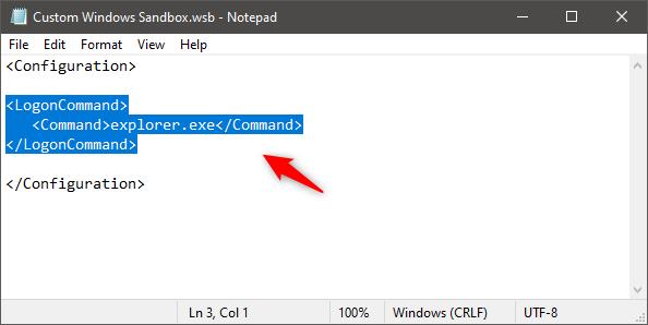 Ejecutando un comando / script en Windows Sandbox