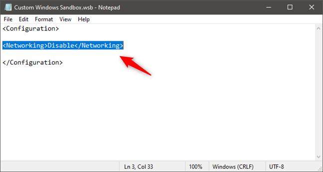 Deshabilitar la red en Windows Sandbox