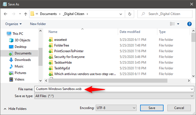 Saving a Windows Sandbox config file (.wsb)