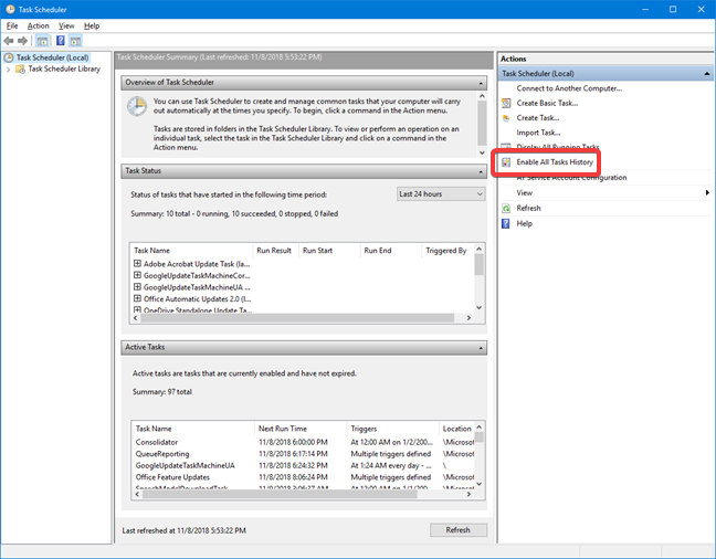 Enable All Tasks History in Task Scheduler