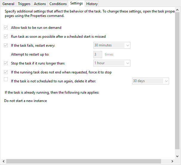 The Settings tab for a task in Task Scheduler