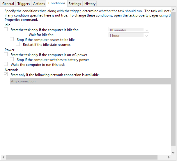 The Conditions tab for a task in Task Scheduler
