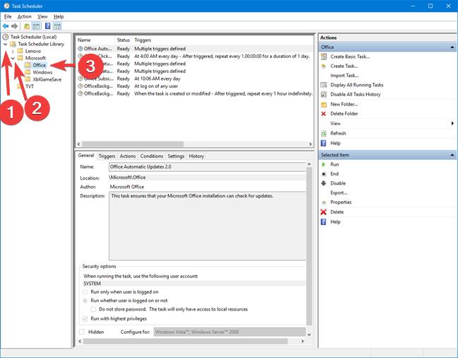 Open folders in Task Scheduler