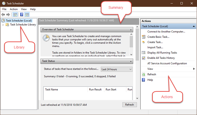 Task Scheduler initial panels in Windows