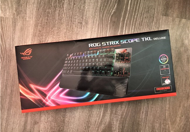 The ASUS ROG Strix Scope TKL Deluxe package