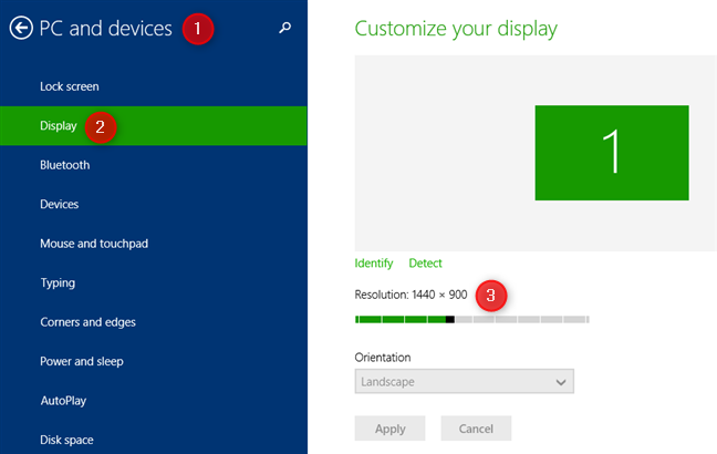 The Customize your display area from the Windows 8.1 PC Settings