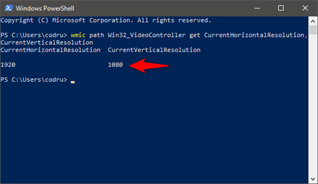 Running a command that shows the screen resolution, in PowerShell