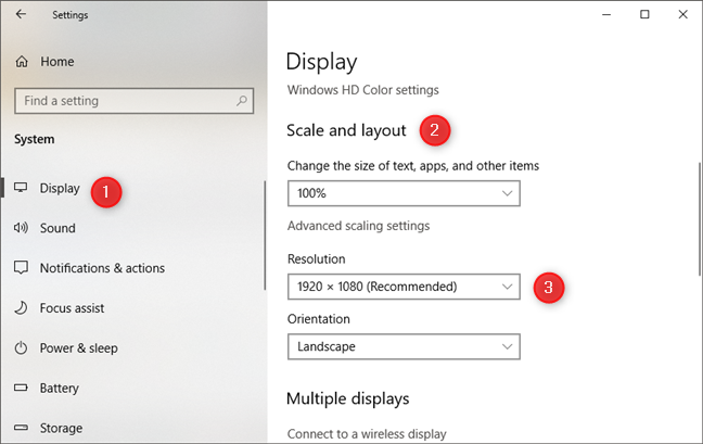 The Display page from the Windows 10 Settings app