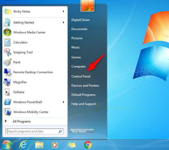 The Control Panel button from the Start Menu in Windows 7
