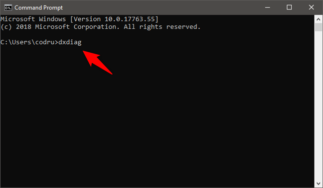 The dxdiag command entered in Command Prompt