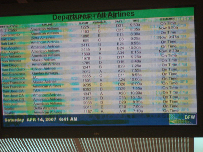 Burn-in effect on an airport screen