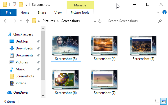 Screenshots stored by Windows in your Pictures library