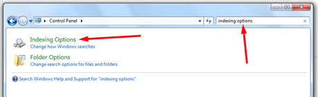 Search Indexing Options in Windows 7