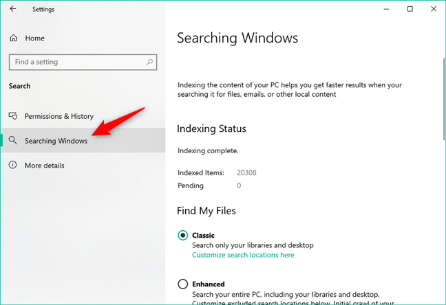 The options available for Searching Windows