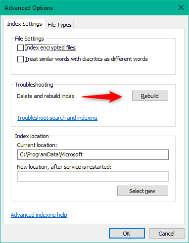 Rebuild the Windows 10 Search Index