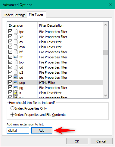Adding a new file type to the Windows 10 Search Index