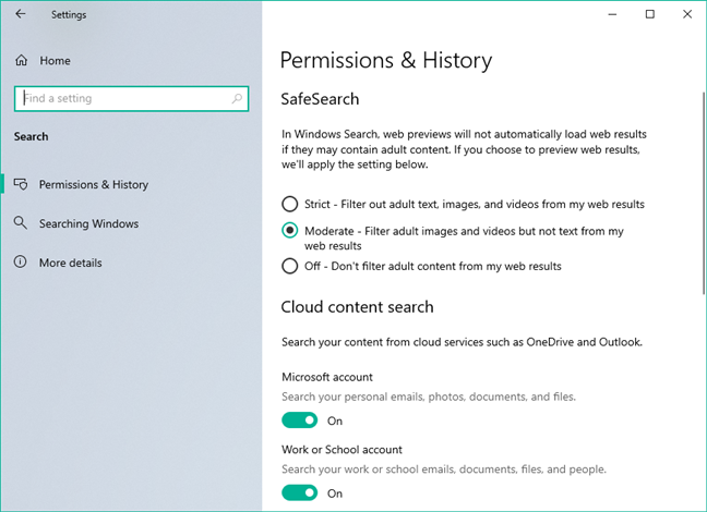 Search pages in the Windows 10 Settings